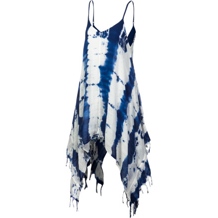 Entertainment Blow their minds in the fun, flirty, sexy, and dramatic Billabong Women's By The Shore Dress, with allover tie-dye wash, high-low hem with fringe sides, and spaghetti straps. This versatile cotton woven frock goes from beach to club with a mere change of shoes. - $53.95