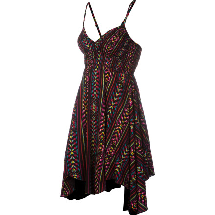 Entertainment Simple yet steamy. That's the sexy, funky Billabong Women's Preston Dress, with handkerchief hem and smocked, racer-back top. Above-the-knee length and cotton construction give it beach-to-bar versatility, so you can take your hotness anywhere. - $35.16
