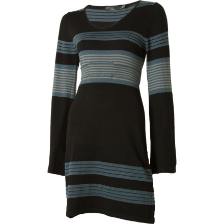 Entertainment Pull on the prAna Sydney Sweater Dress, and then decide whether you're dressing it up or down. The form-flattering Sydney will go either way with ease. Yarn-dyed stripes won't fade over time, and the fixed belt adds some depth. - $84.95