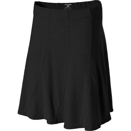 Fitness As you walk up to the hostess to pick up your take-out order, the Horny Toad Women's Chachacha Skirt gets rave reviews from those waiting in line for a table. Its fluted A-line silhouette complements your figure, while the ten-gore design swirls around to the bottom hem giving you a flowy, whimsical look. A covered elastic waistband keeps the Chachacha comfortably in place, and its above-knee length makes it ideal to wear to barbecues, at family gatherings, or for running errands. - $57.95