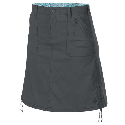 Camp and Hike No matter where you travel, be sure your packing list includes the Isis Womens Danbee Skirt. This versatile A-line skirt features a timeless design and a slightly longer length that is the right choice when youre among more traditional cultures; when its time to head into the rainforest or the mountains for a hike, use the side cords to cinch the for more freedom of movement. The Danbees rugged stretch nylon repels water and stains thanks to the wicking Evaporator finish. The soft microsuede lining in the waistband hides a drawcord that gets the fit just right. - $32.48