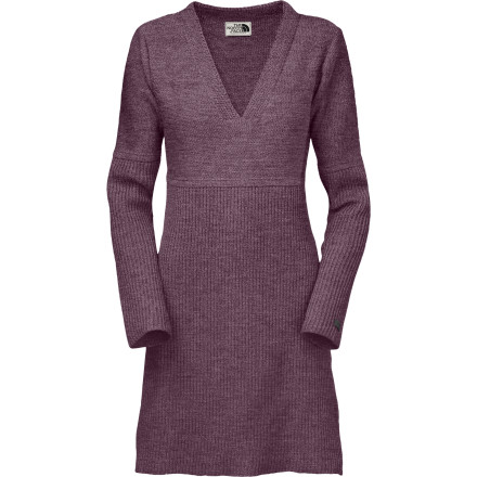 Entertainment You have The North Face Women's Saguaro Sweater Dress, which means you don't have to switch to pants just because the leaves are changing colors. Its empire waist and V-neck style provide a sexy, feminine look when paired with your high-top boots and scarf. - $69.27