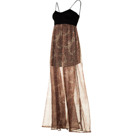 Entertainment The Billabong Women's Ooohlala Maxi Dress raises more than a few eyebrows when you walk through the front door. Its unique design features a bustier-style maxi dress with long sweeping chiffon sheer fabric from the high waist down for a sultry appearance. - $38.64