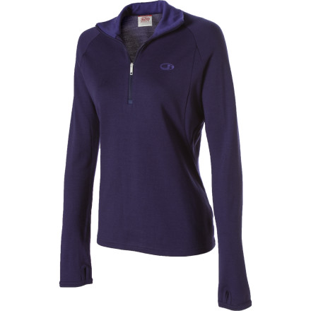 Climbing The Icebreaker Womens Sport320 Glider Top's heavyweight merino wool cuts through cold temperatures like a knife. Wear alone when spring has sprung or layer under a jacket when the mercury refuses to climb. A feminine taper adds sleek style to this Icebreaker top and newly designed thumb loops make layering easy. Pull down the \274-length zip when you need to dump excess heat. - $29.99