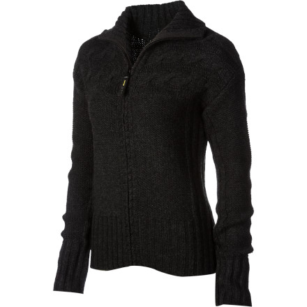 With the coziness of a stand-up collar and the versatility of a full-zip cardigan, the Lol'' Women'''s Cuddle 2 Sweater is your everyday kill-the-cold wear. Its heavyweight chunky knit stands tough against the chill; and its dropped shoulder, cable knit, and ribbed accents make it presentable no matter where you venture. - $60.47