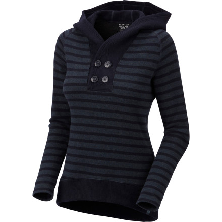 Mountain Hardwear uses reclaimed wool fabric to provide a cozy piece to wear about town with the Women's Sevina Hooded Sweater. Its semi-fitted cut, button-neck placket, and comfy hood offer a flattering look while you snack on cheese fondue and sample various wines. - $94.22
