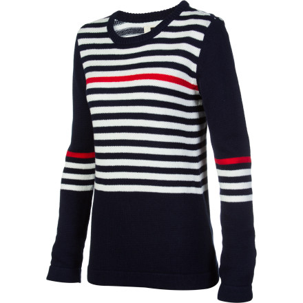 Surf When you wear the Quiksilver Women's Sea Crew Sweater, you welcome the crisp cool air, small beach crowd, and the sound of water crashing against the shore. - $40.80