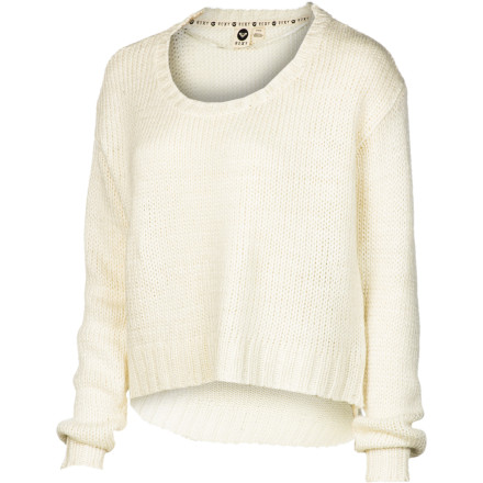 Surf Just because it's winter doesn't mean you can't show a little skin; pull on the Roxy Women's Elm Sweater when you're feeling flirty. The cropped hem on this relaxed-fit sweater plays peekaboo with the waistband of your jeans to combine a summery feel with cozy winter warmth. - $26.78