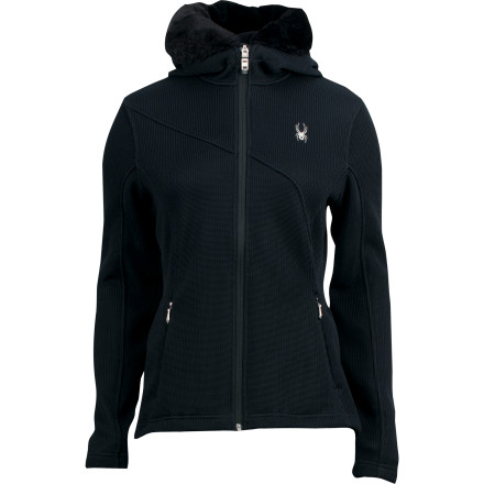 Ski The Spyder Women's Soiree Full-Zip Hoodie scorns convention and instead conforms to every twist, turn, and shape of your body for a flattering look. Fitted with faux fur trim and concealed zippered hand pockets, the Soiree wears well to anything from ski-movie premiers to wine-tasting parties. - $109.42