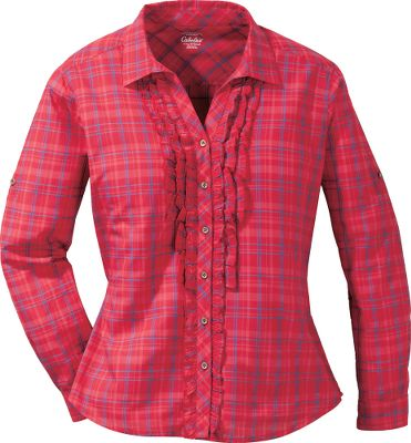 Entertainment Petite tuxedo-style ruffles dress up this classic long-sleeve, button-up shirt. Slight V-neck opening. Roll the sleeves up and hold them in place with the button tabs. 100% cotton. Imported. Center back length: 27. Sizes: S-2XL. Color: Emerald Teal Plaid, Wild Cranberry Plaid. Size: Large. Color: Emerald Teal Plaid. Gender: Female. Age Group: Adult. Pattern: Plaid. Material: Cotton. Type: Long-Sleeve Shirts. - $15.88