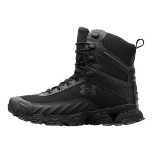 "Fitness Our police and military customers had a problem. They needed a boot that was durable and rugged enough to put up with all terrains, but light enough for speed and maneuverability. UA took up the challenge, designing a running-shoe-tactical-boot hybrid. What you get is a boot we're proud to get positive feedback about...from the streets of Chicago to the hills of Afghanistan. Same UA Valsetz you know, with a side zip for easy on/off accessLightweight, water-resistant mesh upper remains durable and breathable, for superior comfort Fully contoured, compression-molded EVA midsole cushions your foot, without adding excess weightArmourGuide(R) ensures efficient foot-strike guidance from impact to propulsionArmourBound(R) delivers superior, responsive cushioning ArmourLastic(R) absorbs shock at critical impact zones in the heel and forefoot for maximum protectionMolded Ortholite(R) sockliner cushions your foot and keeps your foot locked inAnti-Odor technology prevents the growth of odor causing microbesHigh-abrasion rubber toe rand protects your foot Rubber outsole is engineered to grip on- and off-roadHeight: 7""Weight: 15.5 oz.Imported - $114.99"