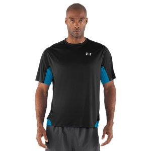 Fitness HeatGear(R) Flyweight is the latest, lightest UA material-ideal for the technical runner. If being the lightest, most breathable fabric isn't enough for you, there are also mesh panels-right where you need them-for more ventilation. Ultra-light, smooth fabric provides extreme comfort and performanceMesh back and underarm panels provide strategic ventilation Signature Moisture Transport System wicks sweat away from the body Anti-odor technology prevents the growth of odor causing microbesSmooth flatlock seams allow a full range of motion without chafingGraphics and logos provide 360deg reflectivity for safer low-light runsBody: 3.2 oz. PolyesterMesh: 2.2 oz. PolyesterImported - $26.99