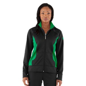 Fitness If you're looking for a superior warm-up jacket, you've found it. Unlike traditional woven warm-ups that swish with every move, this jacket is built soft, sturdy, and completely noise-free. We also eliminated any extra bulk with slim, tailored seams, and strategic color blocking. Super-soft tricot fabric feels smooth but sturdy, perfect to wear while you workout or relax in afterLightweight, 4-way stretch construction improves mobility & accelerates dry timeSignature Moisture Transport System wicks sweat to keep you drier, lighter & more comfortableRolled princess seams offer an ergonomic fit to help eliminate chafingColor-blocked options for a fast look & extra athletic style Front kangaroo pocket to stash your stuff Zipper garage at neck keeps pull safely stored during activityContrast UA logo on left arm to add a bit of style on & off the field6.2 oz Interlock Knit Polyester Imported - $40.99
