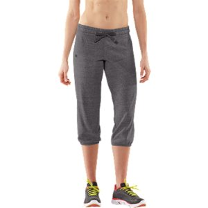 "Fitness These capris are amazing. They feel like your boyfriend's comfy old sweatpants, but fit like they were made for you...and, of course, they work like Under ArmourA(R). Built from a super smart tri-blend fabric, these capris deliver the ultimate softness, durability, and stretch. And the elastic ankles let you personalize your style. These are ""wear everywhere"" kind of pants. Cotton-rich tri-blend fabric has a soft, athletic feel for superior comfort and performanceSignature Moisture Transport System wicks sweat to keep you cool, dry, and lightAnti-microbial technology eliminates odors to keep your gear fresher, longerLightweight, stretch construction improves mobility & is perfect for layeringMore relaxed style offers a roomier athletic fit & more forgiving silhouetteCovered elastic waist with twill drawcords for a custom comfort fitClassic cinched hem design offers adjustable style Back patch pocket to stash your stuffUA logo on right leg shows your preference for performanceMedium: 21"" inseam (+/- 0.25"")5.31 oz Cotton/Polyester/RayonImported - $23.99"