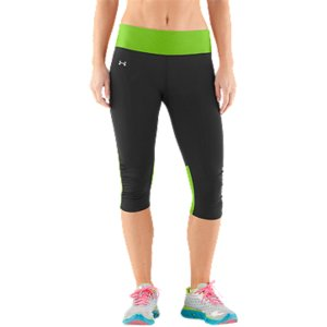 "Fitness We know you can work up a sweat on your way to 26.2, so we armed these capris with stretch mesh panels in the legs and waist to dump excess heat as you warm up. And because we know you perform your best when you look your best, we added subtle ruching at the knees for a cute little finish to these classic black run capris. Locked-in UA Compression fit increases muscle power and decreases recovery timeBrushed matte finish delivers a clean, classic lookSignature Moisture Transport System wicks sweat to keep you cool, dry, and lightLightweight, 4-way stretch fabrication improves range of motion and dries fasterErgonomic flatlock side seams eliminate chafing for a superior comfort fitWide, stretch mesh waistband and back panel delivers maximum coverage and breathability Ruched knees unlocks mobility and adds a fast but feminine lookHidden zippered key pocket to secure your stuff15"" inseamBody: Nylon/ElastaneMesh: Polyester/ElastaneImported - $44.99"