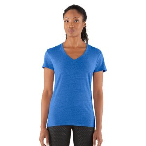 Fitness Cotton-rich tri-blend fabric has a soft, athletic feel for superior comfort and performance.  Signature Moisture Transport System wicks sweat to keep you cool, dry, and light.  Anti-microbial technology eliminates odors to keep your gear fresher, longer.  Lightweight, stretch construction improves mobility & is perfect for layering.  Deep V-neck collar & slimmer fitted fit deliver a sleeker, more feminine silhouette.  Unique straddle stitch on shoulders add style & texture.  UA logo on bottom left hem shows your preference for performance.  Branded neck tape with updated women's wordmark for a hit of style.  3.83 oz Cotton/Polyester/Rayon.  Imported. - $14.24