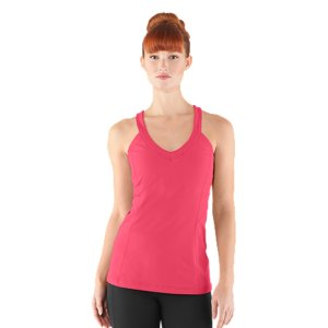 Fitness This is more than just a tank top. This is a seriously ventilated, deep V tank top with a built-in bra that feels like it was built just for you-thanks to its hidden adjustable band and removable cups. With a simple slide hook, you can make the band tighter or looser, depending on your preference. Signature UA StudioLux(R) fabric delivers relentless performance with a super-soft luxurious feelUnparalleled support for a secure, confident fitSignature Moisture Transport System wicks sweat to keep you dry and lightLightweight, 4-way stretch construction improves mobility and accelerates dry timeDeep V-neck detail adds a more feminine, athletic finishClassic racer back design unlocks serious mobility and is great for layeringErgonomic flatlock seams allow you to move free without fear of chafingBuilt-in bra features removable cups for shape and an adjustable 3-hook closure for custom fit Mesh-lined bra and back panel offer extra ventilation where you need it mostPolyester/ElastaneImported - $44.99