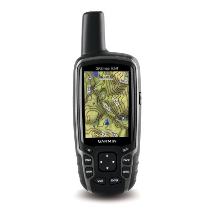 Camp and Hike The Garmin GPSMAP 62st GPS brings you the same compass, altimeter and wireless connectivity as the GPSMAP 62s, plus a preloaded 100k topo map of the continental U.S. Detailed, 100k topographic map includes national, state and local parks and forests along with terrain contours, elevation, trails, rivers, lakes and points of interest. 3-axis, tilt-compensated electronic compass shows your heading even when you're standing still and holding the unit upright or at an angle. Altimeter tracks changes in barometric pressure to pinpoint your altitude; it also plots pressure over time to help you keep an eye on changing weather conditions. Share your waypoints, tracks, routes and geocaches wirelessly with other compatible Garmin devices so your friends can easily enjoy your favorite hike or cache. Built-in worldwide basemap with shaded relief helps you navigate with ease; photo navigation lets you download Garmin Connect(TM) photos and navigate to their locations. Quad helix antenna and high-sensitivity, WAAS-enabled receiver with Hotfix(R) satellite prediction locate your position quickly and maintain reception under heavy cover. 1.7 gigabytes of onboard memory make it easy to add maps; choose from Garmin's wide array of detailed topographic, marine and road maps (sold separately). Garmin GPSMAP 62st supports BirdsEye(TM) satellite imagery (subscription required) that lets you download satellite images and integrate them with your maps. Compatible with free Custom Maps maps software that transforms paper and electronic into downloadable map files. Easily connect GPSMAP 62st to your computer and the Internet to get a detailed analysis of your activities and add tracks using Garmin Connect. Garmin Connect lets you map your movements on Google Earth, explore routes uploaded by other Garmin users and share your experiences on social networking sites. Supports OpenCaching. - $314.93