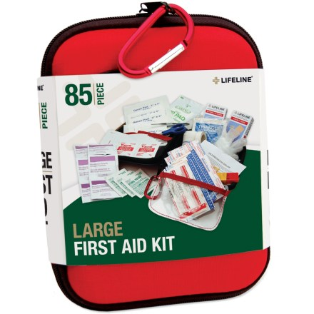 Camp and Hike Take the Lifeline Large first-aid kit along on your next group hike to treat cuts, scrapes and stings. Includes twenty 1.5 x 0.375 in. bandages, ten 3 x 0.75 in. bandages, 10 wound closure strips, 1 knuckle bandage and 2 knee/elbow bandages. Four 2 x 2 in. gauze pads, two 3 x 3 in. gauze pads, one 4 x 4 in. gauze pad, one 2 in. conforming gauze, 1 triangular bandage and one 9 x 5 in. combine dressing. Also contains 14 alcohol prep pads, 6 antiseptic towelettes, 3 sting relief pads, 2 vinyl gloves, 1 pair of tweezers, 1 pair of scissors, and a roll of adhesive tape. Use the emergency whistle to signal for help. First-aid guide gives you information on treating wounds. All items are packaged in a hardshell foam case; includes a small accessory carabiner for clipping the case to a backpack. - $19.95