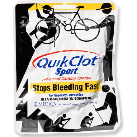Camp and Hike A must for any first aid or emergency kit-this 50g bag of Quikclot(R) Sport stops moderate to severe bleeding until further medical help is available. Quikclot is a chemically inert material in a mesh bag that speeds coagulation of blood, resulting in a stable clot that stops bleeding. Stops bleeding quicker than conventional methods and is safe to leave on wounds until more advanced medical help arrives. Package contains a 5 x 5 in. (50g) bag of Quikclot for coverage of large wounds. - $11.93