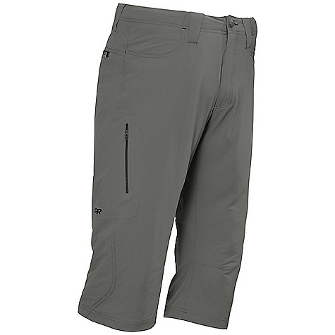 Free Shipping. Outdoor Research Men's Ferrosi 3-4 Pants DECENT FEATURES of the Outdoor Research Men's Ferrosi 3/4 Pants Wind Resistant Breathable Durable Belt Loops Button and Zipper Fly Low-Profile Waist Fits Under Harness Brushed-Tricot-Lined Waistband Front Slash Pockets Zippered Rear Pockets Zippered Thigh Pocket Gusseted Crotch Articulated Knees The SPECS Weight: 8.5 oz / 240 g Fit: Standard Inseam: 18in. / 46 cm 86% ripstop, 14% spandex, stretch-woven This product can only be shipped within the United States. Please don't hate us. - $71.95