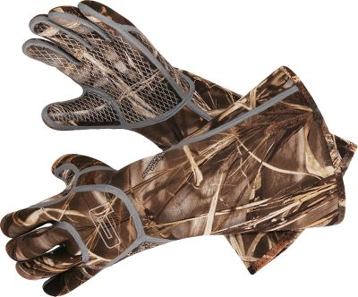 Hunting Outlast the worst Mother Nature dishes out with these technologically advanced waterfowl gloves constructed of the best materials known to man and designed for the most demanding hunters. The core components feature a laminated Super Hydrobhobic Evaporative Development System (SHEDS) for unrivaled breathability and water- proof performance. PrimaLoft Sport insulation delivers incredible warmth due to its ability to repel mositure, dry fast and keep you warm when wet. 5mm neoprene gloves with silicone palms and fully sealed seams.Imported.Sizes: M-2XLCamo pattern: Realtree MAX-4. - $29.99