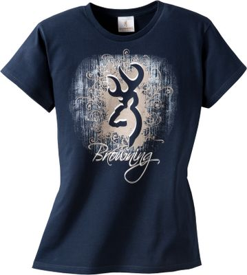 Hunting A large Browning Buckmark and logo design are printed on the front of this comfortable and stylish 6.1-oz. 100% cotton, classic-fit tee shirt. Imported.Sizes: S-2XL.Color: Navy. - $14.88