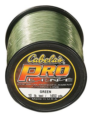 Fishing ProLine Monofilament is designed to help you catch the biggest fish in the toughest conditions. That means a line with high performance as well as high strength. Controlled tensile strength enables ProLine to take the sudden shock and impact of bone-jarring hook sets with minimum stretch while withstanding the runs and surges of any game fish. All of that in a small diameter line with more than enough abrasion resistance to handle the toughest situations. Low Visibility Green line delivers superior light-dampening characteristics in bright sunlight, which makes it an ideal line for walleye. We feel so confident in our fishing lines, we invite you to field test any of our Cabela's lines against any other lines, regardless of price, for a period of 60 days. If you are not 100% satisfied, return them for a full refund, no questions asked. - $5.88