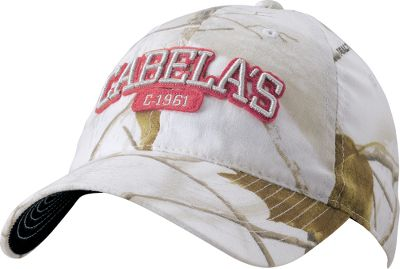 Hunting Sized especially for women, this cap features raised Cabelas logo embroidery with a pink patch outline on the front. Hook-and-loop-adjustable closure. One size fits most. Imported.Camo pattern: Realtree AP Snow. - $4.88