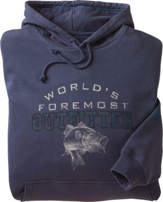 Hunting Extra-soft, fleece-backed 60/40 cotton/polyester construction makes this hoodie a wear-everywhere favorite. The classy World's Foremost Outfitter artwork proudly displays your passion for the outdoors. 100% cotton. Imported.Tall sizes: L-3XL.Available: Moose, Elk, Grizzly Bear, Bass, Buck, Lab. - $44.99
