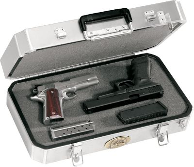 "Our popular ""Bullet Proof'' Pistol Cases have been updated to provide even more protection for your firearms. New 45 heli-arc welded corners protect this vulnerable area from dents and dings. They are constructed of virtually indestructible .063"" marine-grade aluminum for maximum strength. Heavy-duty closed-end rivets attach hinges, latches, handles and rigid internal dividers without letting in dust or moisture. They have top-quality, full-length piano hinges, along with plated steel latches and handle, and a stainless steel locking rod system. A weather seal keeps out moisture, and dense, thick urethane foam cradles and protects your firearms and gear. Meets airline requirements. Size: 18"" x 10"" x 4-1/2"". - $99.88"