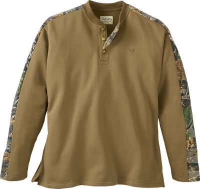 Hunting Throw some outdoor style into your casual lineup with this classic, go-anywhere, lightweight fleece henley. Its crafted of a durable, skin-pleasing and easy-to-care-for 60/40 cotton/polyester blend. Cabelas-exclusive Seclusion 3D camo accents on the sleeves and inside the three-button placket set it apart. Whitetail antlers embroidered on the left chest. Machine washable. Imported. Tall sizes: L-3XL.Colors: Black, Dark Moss, Buckskin. - $34.99
