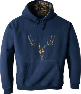 Hunting Crafted of a 360-gram 75/25 cotton/polyester sueded fleece for a substantial feel that gets softer and more welcoming every time you pull it on. Seclusion 3D camo in the die-cut whitetail applique and hood lining adds a touch of hunting-inspired style. Tonal overlock stitching complements the three-piece, custom-fit hood. Front kangaroo pocket. Imported. Tall sizes: L-3XL. Colors: Night/Deer, Black/Moose, Pine Green/Moose, Smoke/Deer. - $24.88