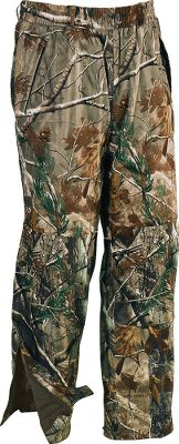 "Hunting Rain Suede has been a Cabela's staple for many years. Our Rain Suede, with Evolution fabric, takes the original and makes it even better. In order to even consider replacing our original Rain Suede, the new fabric had to be perfect. Evolution was that fabric. It's softer and quieter than our original Rain Suede, but retains the same exceptional breathability of the original. Plus, the microdenier polyester allows camo patterns to print with extremely vivid detail that never fades. The shell fabric is backed with 100% waterproof/breathable Dry-Plus and has an EcoNano durable water-repellent finish, which keeps water rolling off the garment, even under extreme pressure when kneeling or crawling. With just a few quick shakes and a couple ""brush-offs,"" the fabric is as dry as when you started the day. It's your first line of defense against all types of moisture. You can wear it in a downpour and it will be ready to wear again the next day without having to run it through a dryer. Evolution is also extremely versatile, so one investment will see you through multiple hunting seasons. And, to make this line of rainwear even better, it is available with a odor-adsorbing Scent-Lok . Moisture-wicking mesh liner provides next-to-skin comfort. Three-pocket design includes two zippered front pockets as well as a zippered rear security pocket. Knee-length leg zippers with snap-close storm flaps. Double reinforcements at the seat and knees. Elastic waist with belt loops. Imported. Sizes: M-2XL. Camo patterns: Mossy Oak New Break-Up , Realtree AP , Mossy Oak Break-Up Infinity . - $59.88"