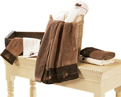 Entertainment Express your love of the outdoors with embroidered pine cones on plush, 100% cotton towels. Machine washable. Imported.Set includes: one 28 x 51 bath towel, one 16 x 31 hand towel, one 13 x 14 wash cloth. - $49.99