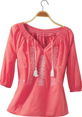 Super-light 100% cotton batiste fabric matched with cute, 3/4 sleeves keep you comfortable and cool when the weather heats up. Stylish embroidery. Imported. Center back length: 25. Sizes: S-XL. Colors: Charter Blue, Watermelon. - $12.99