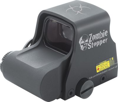 Entertainment The Zombie Stoppers holographic weapon-sight technology gives you the power to peer into that darkness, so you can clearly see and aim at the things that lurk in the night. Renowned for its precision accuracy, extreme durability and the ability to function under harsh conditions, the XPS2-Z Zombie Stopper boasts 20 brightness settings. From low- to bright-light situations, these settings deliver target illumination and extreme clarity. The 65-MOA sight-ring reticle, biohazard-shaped tails and a MOA aiming dot serve up deadly accuracy. Mounts and removes quickly with zero repeatable up to 2-MOA. 1 standard Weaver rail mount. Nonreflective black hard-coat finish. Waterproof and submersible to 33 ft. Up to 600 hours run time on a 123 lithium battery. Not nightvision compatible. Dimensions: 3.75L x 2.4W x 2.4H. Weight: 8 oz. Weight (oz.): 8. Type: Laser Sights. Size Xps2 Zombie Stopper. - $539.99