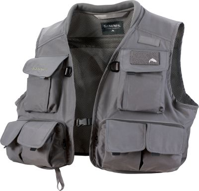 Flyfishing This vest has 11 pockets, including two large chest cargo pocket, two zippered horizontal waist fly-box pockets, four cargo waist pockets, two horizontal zippered inside pockets and one horizontal back pocket. Quick-release front buckle. D-ring net holder on back; two front accessory D-rings. Rod loop with hook-and-loop closure. Rib-knit collar. Polyester/cotton. Imported. Sizes: S-2XL. - $59.88