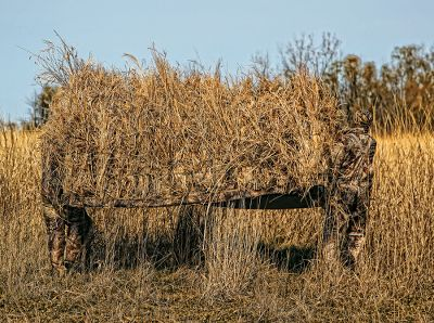 Hunting Dont waste time searching for cover, take it with you. Zink is redefining portable blind technology with the Avian X A-Frame Blind. This unique design eliminates hard edges and shadows and its large enough to easily accommodate four hunters. Noncorrosive aluminum frame is sturdy and light. At only 26 lbs. you can easily transport it to your favorite spot in the field. Add natural vegetation to the grass straps and pockets on the outer cover and the blind becomes virtually invisible. Suitable for use near marshes, along fence lines, even in open fields. 900-denier shell withstands harsh elements and abuse. Includes EZ-Carry webbing strap. Imported. 96L x 60W x 48H. Wt: 26 lbs. Camo pattern: Mossy Oak Shadow Grass Blades. Color: Mossy Oak Shdw Grass. Type: Waterfowl Blinds. - $499.99