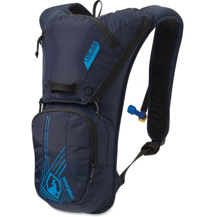 Ski The CamelBak Scorpion(TM) hydration snow pack lets you make the most of your day on the slopes. Zippered compartments secure and organize your on-slope gear; handy organizer keeps tools within easy reach. External port access makes refilling the included reservoir quick and easy. CamelBak Scorpion hydration ski pack features a music-player pocket with headphone port and a pocket to carry small essentials such as cell phone, keys and cash. Placing a handwarmer packet (sold separately) in theTherminator(TM) harness pocket prevents tube freeze-up; harness makes it easy to get to your mouthpiece. Foam-wrapped delivery tube offers enough insulation to help keep the water in the tube from freezing. Camelbak has improved zipper placement to ease loading up the reservoir and to encourage frequent sipping. Reservoir holds up to 70 fl. oz. (2 liters), giving you access to fresh water on demand. Improved reservoir features a lightweight fill port, a low-proflie design and a cap that opens and closes easily. HydroGuard(TM) technology inhibits bacterial growth on reservoir and tube surfaces (but does not protect user from disease organisms; please wash reservoir after each use). Big Bite(TM) valve features a handy on/off switch. - $75.00