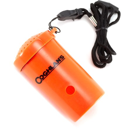 Camp and Hike Alert rescuers to your location with the incredibly loud Coghlan's Emergency Survival horn. Simply blow into the small hole on the side of the horn to blast an audible sound up to 120 decibels-that's louder than your typical rock concert! Durable polypropylene body floats in water and has a bright orange color that's easily seen. SOS Morse code is printed on the side. Coghlan's Emergency Survival horn comes with a breakaway lanyard. - $3.50