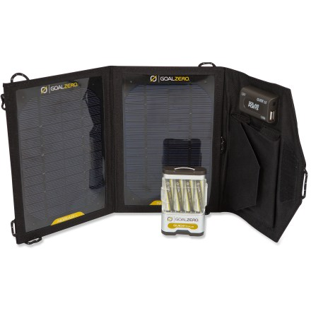 Camp and Hike The Guide 10 Plus Adventure Kit Solar Charger boosts tablet power up to 25% and helps you charge up cell phones, GPS units and rechargeable batteries anywhere you go-just add sunlight! - $120.00