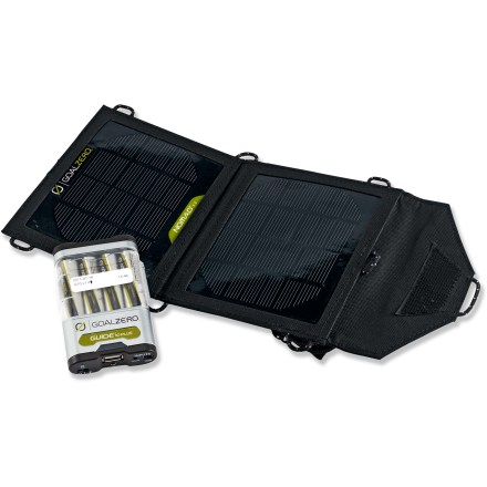 Camp and Hike The Goal Zero Guide 10 Plus mobile kit combines the Nomad 3.5 solar panel with a Guide 10 Plus battery pack, allowing you to gather and store solar power and recharge your devices almost anywhere. Simply lay out the light and portable Nomad 3.5 solar panel and use the sun's power to charge the Guide 10 Plus battery pack or your hand-held USB- and 12V-compatible devices. Compact, weather-resistant solar panel is smaller and more powerful than comparable panels. Guide 10 Plus battery pack fully charges in 8 - 10 hrs. using the Nomad 3.5 solar panel; it features a 1 amp USB output that charges iPad(R)s, tablets and other devices. - $74.93