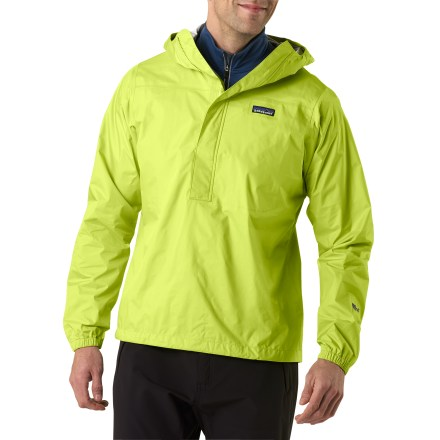 The Patagonia Torrentshell Pullover is superlight, waterproof and packable-in other words, the ultimate emergency rainwear. When other trekkers are scampering for cover, pull shelter from your pack with this pared-down pullover; it's focused on protection with minimalist features. Tear-resistant, 2.5-layer nylon ripstop fabric has a waterproof, breathable H2No(R) barrier that channels moisture away from skin and slides easily over layers. 2-way-adjustable hood with a laminated visor rolls down for stowing. Center-front zipper with stop flaps keep water out; microfleece lining along neck and chin enhances comfort. Drawcord hem and elastic cuffs. The Torrentshell Pullover packs into its single chest pocket; includes a carabiner clip-in loop. Regular fit eases layering. 100% recyclable through Patagonia's Common Threads Recycling Program-simply return your worn out item to Patagonia. - $82.93