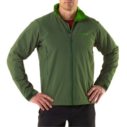 Even on sunny days, the wind is a ruthless thief. The men's Patagonia Solar Wind jacket helps you hoard your heat with it's lightweight, low-bulk, windproof design. Gore WindStopper(R) shell combined with a light fill of 60g PrimaLoft(R) Eco synthetic insulation guards warmth and blocks wind. Interior windflap and chin guard add comfort. Cuffs have low-profile closure with pleated gusset. Embedded cordlocks in the hem allow quick adjustment without opening the jacket. Reverse-coil zip handwarmer pockets are positioned for easy access with harnesses and pack straps. Patagonia Solar Wind jacket also includes an interior zip security pocket. Includes full-reach gusseted underarm panels for mobility. Regular fit allows airflow and evaporative cooling, and eases layering. - $173.93
