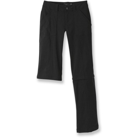 Camp and Hike The prAna Monarch Convertible short-length pants offer a versatile zip-off leg option and comfortable stretch. Just about everything a girl needs to be happy while she's doing her thing! - $41.83