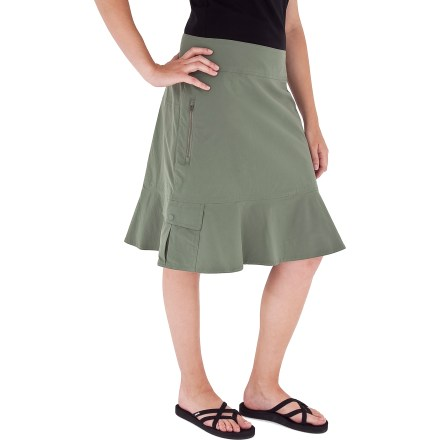 Entertainment Discover the world while being carefree and comfortable in this travel-friendly Discovery skirt from Royal Robbins. Abrasion-resistant, moisture-wicking nylon fabric has a touch of spandex for stretch and wrinkle resistance. Back zipper allows easy entry; Dri-Xtreme(TM) mesh lining at inner waistband quickly wicks moisture and resists bacterial development. Features left hip pocket with snap closure and right hip security pocket with vertical zipper. Fabric provides UPF 20 sun protection, shielding skin from harmful ultraviolet rays. - $42.93