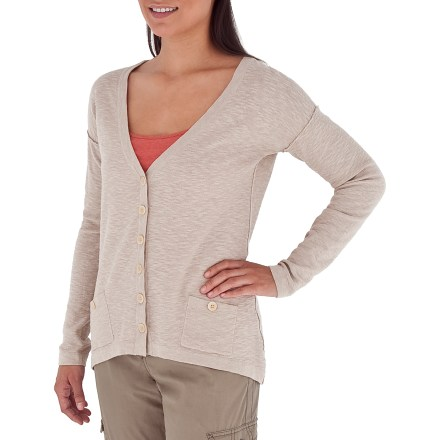 Entertainment The Royal Robbins Pacific Heights cardigan will fit seamlessly into your wardrobe as a lightweight layering piece. Cotton and linen blend together for durable softness that your skin will love. V-neck opening and front button placket create a flattering and classic style; 2 front pockets with button closure provide storage for small items. Design details include dolman sleeves and dropped back hem. - $48.93
