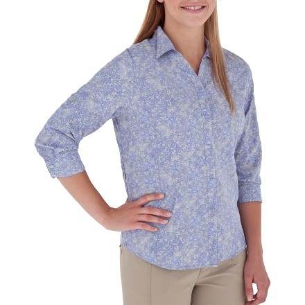 Camp and Hike The Royal Robbins Mayan 3/4-sleeve shirt is built to help you make serious time on the trail by keeping you cool and dry, but it's also too cute to save just for hiking. Polyester fabric comes equipped UPF 50+ sun protection so your skin stays safe no matter how long your day lasts. The Mayan 3/4-sleeve shirt features ripstop construction with enhanced wrinkle-resistance, wicking and quick-dry capabilities. 3/4-length sleeves can be rolled up and secured as short sleeves with button tab. Hidden zippered side pocket discreetly secures small valuables. The Royal Robbins Mayan 3/4-sleeve shirt features a mesh-lined yoke to promote breathability, especially when you're wearing a pack. - $44.93