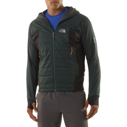 The North Face Super Zephyrus hoodie jacket is super lightweight, incredibly warm and weather repellent. It's an essential alpine tool for layering and aerobic summit pushes. Nylon shell fabric sheds wet weather and resists wind; PrimaLoft(R) Eco synthetic insulation adds warmth and continues to insulate even when wet. Pontetorto stretch fleece side panels are strategically placed for optimal freedom of movement and breathability in a wide range of conditions. Upper body stretch fleece lining combines warmth with breathability, and it stretches for good mobility; silky lower lining layers well. Attached, partially insulated and shaped hood has soft elastic-bound edges; stretch fleece hood panel extends down to nape of neck for good breathability, fit and mobility. Reverse-coil front zipper and high collar protect neck from the cold. Hand-hugging cuffs with thumbholes enhance warmth and stay in place. The North Face Super Zephyrus hoodie has 2 alpine pockets that can be accessed with a harness on; includes an interior zip security pocket. Next-to-skin design fits like a sweater. The North Face Summit Series(TM) apparel is designed and tested for use in harsh environments. - $98.83